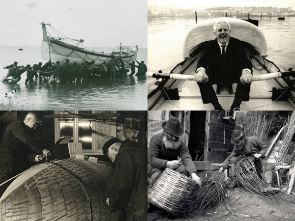 Home Page - Quotes showing old lifeboat image, uffa fox in britannia 1, boatbuilders and fishermen making lobster pots