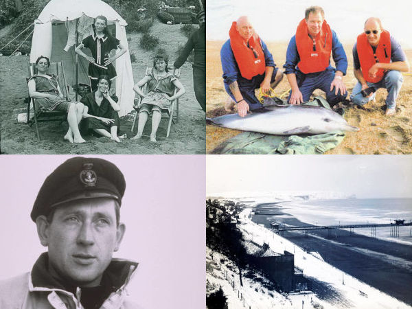 home page graphic for Photos section - four images showing Victorian women on the beach, coastguards with large fish, RNLI Coxswain Peter Smith and Sandown beach in the snow