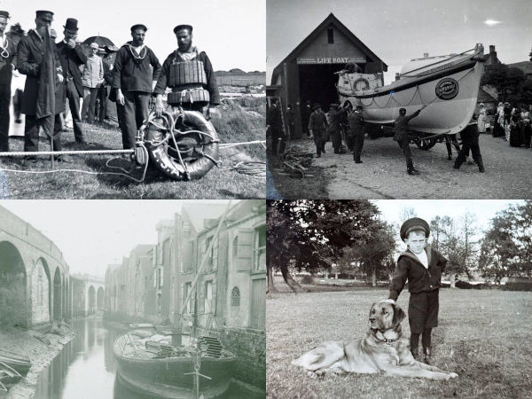 home page graphic for Themes section - four images showing coastguard, lifeboat, newport harbour and boy in sailor suit